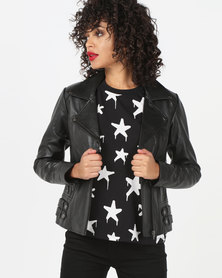 House of LB Serena Leather Jacket Black
