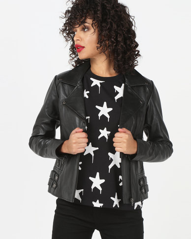 House of LB Serena Leather Jacket Black