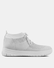 FitFlop Uberknit High-Top Sneakers Metallic Silver/White