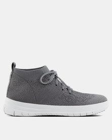 FitFlop Uberknit High-Top Metallic Sneakers Charcoal/Pewter