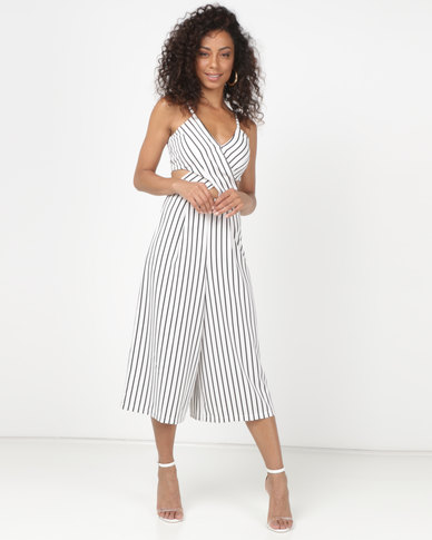 43a8fc96933 Legit Strappy Cross Over Stripe Culotte Jumpsuit White