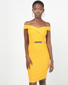Legit Off The Shoulder Bar Trim Bodycon Dress Mustard