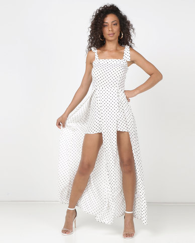 0ca450c21ec2 Legit Shoulder Tie Skirt Overlay Jumpsuit In Polka Dot White