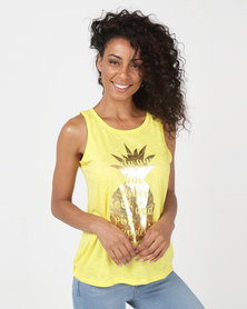 Legit Pineapple Screen Tank With Open Twisted Back Yellow