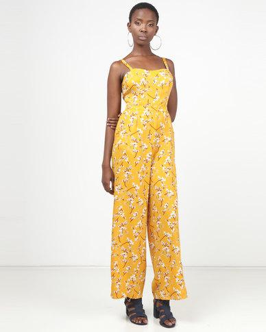 2daafae0820 Legit Floral Jumpsuit With Tie Back Detail Mustard
