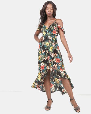 Legit Cold Shoulder Frill Maxi Dress Black  201b3be4b
