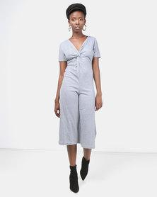 Legit Short Sleeve Midi Jumpsuit With Twist Detail Grey