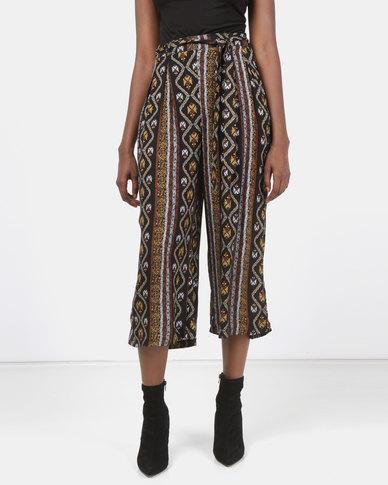 Legit Tribal Print Self Belt Culotte Multi