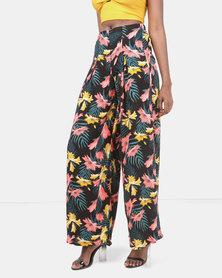 Legit Tropical Print Pleat Front Wideleg Pants Black