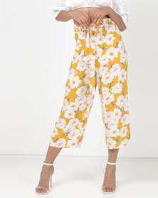 Legit Floral Print Self Belt Culottes Mustard