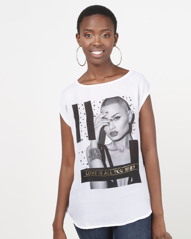 Legit Love Is All You Need Photographic Printed Tee White