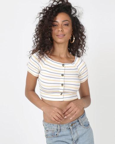 Legit Bardot Short Sleeve Stripe Top With Mock Placket Multi