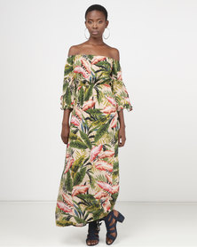 Legit Tropical Maxi Dress With Frill Sleeves Multi
