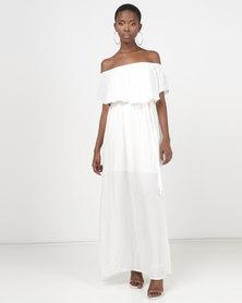 Legit Bardot Waisted Maxi Dress White
