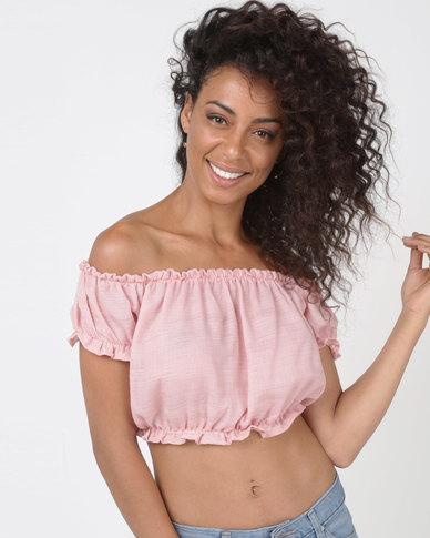 81f42e839958a8 Legit Bardot Lettuce Edge Gypsy Top Dusty Pink
