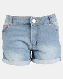 Legit Denim Shorts With Roll Hem Stonewash