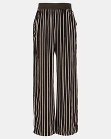Legit Stripe Wide Leg Pants Black