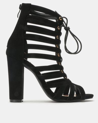 Legit Block Heel Nubuck Lace-up Sandals Black