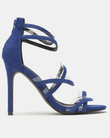 Legit Multi-Strap Heeled Sandals With Vinyl Inserts Cobalt