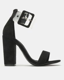 Legit Banded Mule Block Heel with Vinyl Ankle Strap Black