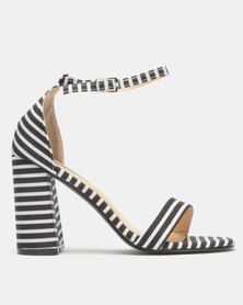 Legit Striped Block Heel Banded Mule Sandals Black/White