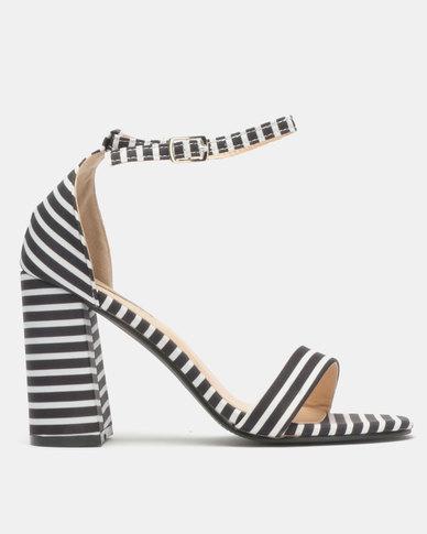 5d34cf9eb3ff Legit Striped Block Heel Banded Mule Sandals Black White