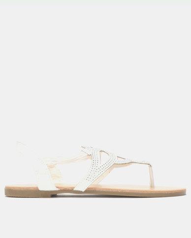 Legit Elasticated Jewelled Thong White