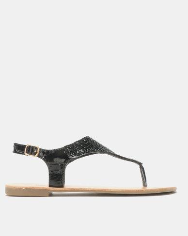 Legit Full Embellished Thong Sandals Black