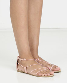Barely there strappy sandal with toe thong blush