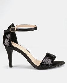 LaMara Glitter Heeled Sandals Black