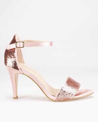 8ee2847e5131 LaMara Glitter Heeled Sandals Rose Gold