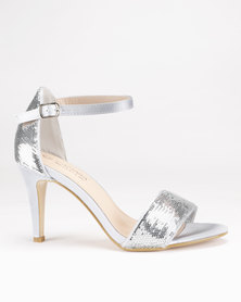 LaMara Glitter Heeled Sandals Silver