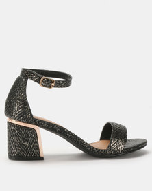 LaMara Woven Heeled Sandals Black