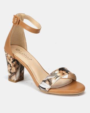 5445ea8fbe1c LaMara Printed Heeled Sandals Camel