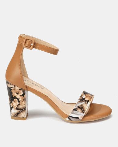 LaMara Printed Heeled Sandals Camel