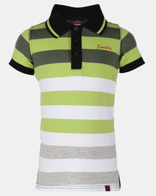 Soviet B Chicago Short Sleeve Stripe Golfer Lime