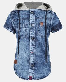 Soviet B Fire Short Sleeve Denim Shirt Dark Indigo