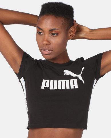 Puma Sportstyle Core Tape Logo Cropped Tee Black