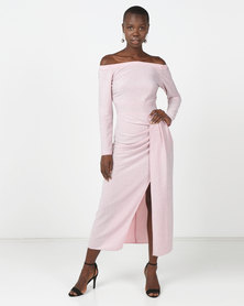 Princess Lola Boutique When The Sun Goes Down Metallic Glitter Gown Pink