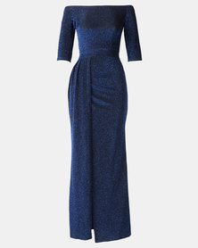 Princess Lola Boutique Alchemy Metallic Glitter Gown - Blue