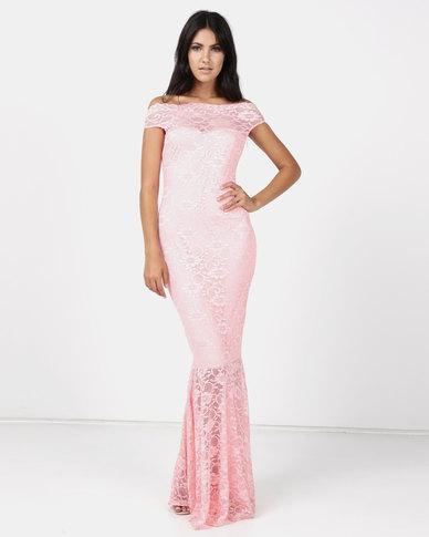 Princess Lola Boutique Vertigo Lace Off Shoulder Mermaid Gown Pink