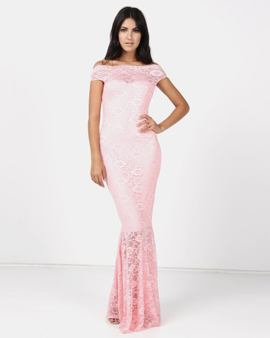 Vertigo Lace Off Shoulder Mermaid Gown - Pink