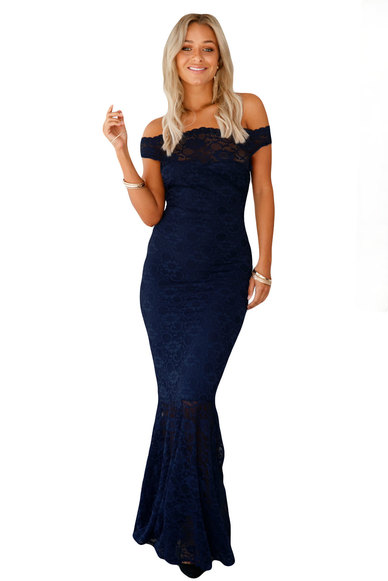 Princess Lola Boutique Vertigo Lace Off Shoulder Mermaid Gown Navy