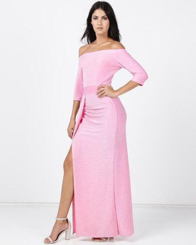 Princess Lola Boutique Alchemy Metallic Glitter Gown Hot Pink