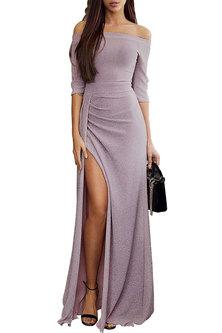 Princess Lola Boutique Alchemy Metallic Glitter Gown - Mauve