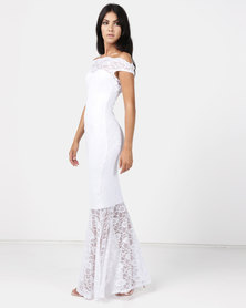 Princess Lola Boutique Vertigo Lace Off Shoulder Mermaid Gown - White