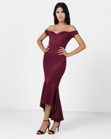 Anouk Off Shoulder Gown - Burgundy