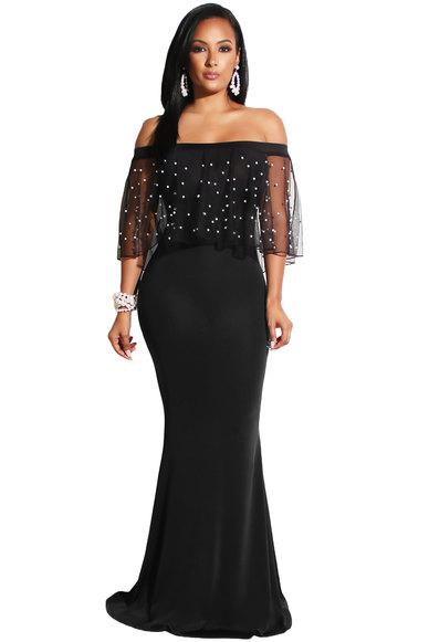 Princess Lola Boutique Atlanta Springs Pearl Mesh Mermaid Dress Black