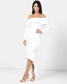 Princess Lola Boutique Rio Lantern Sleeve Asymmetric Ruffle Hem Evening Dress White