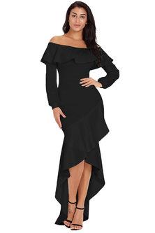 Princess Lola Boutique Rio Lantern Sleeve Asymmetric Ruffle Hem Evening Dress Black
